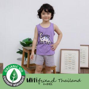 ชุดนอนเด็ก เสื้อผ้าเด็ก 20ss/Purple dino sleeveless