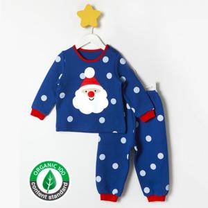 ชุดนอนเด็ก เสื้อผ้าเด็ก 20fw/Dots santa9 (blue)