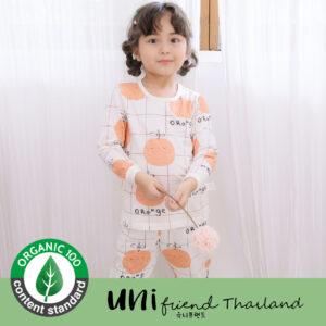 ชุดนอนเด็ก เสื้อผ้าเด็ก 21SS/Check orange9