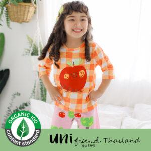ชุดนอนเด็ก เสื้อผ้าเด็ก 21SS/Check Orange Apple7