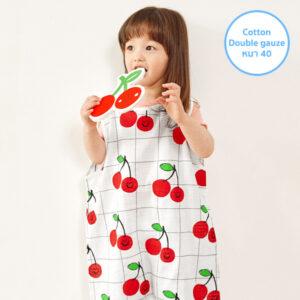 ถุงนอนผ้าห่มเด็ก 21SS/Double Gauze Sleepvest – Line Cherry