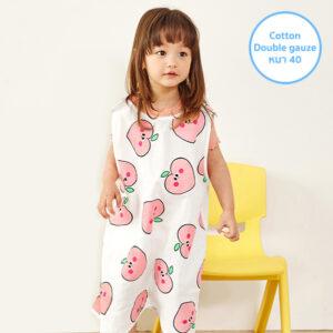 ถุงนอนผ้าห่มเด็ก 21SS/Double Gauze Sleepvest – Pink Peach White